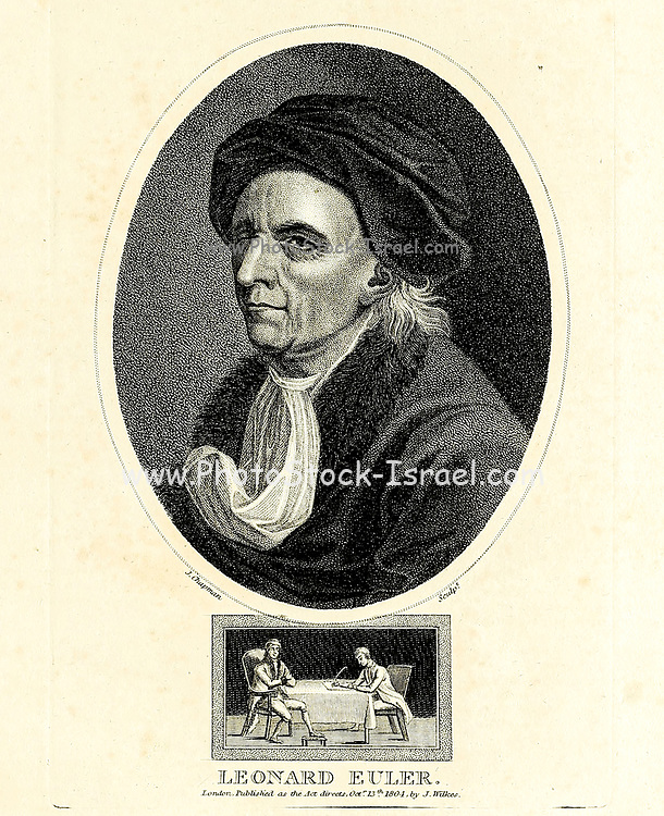 Leonhard Euler [here as Leonard Euler] (15 April 1707 – 18 September 1783) was a Swiss mathematician, physicist, astronomer, geographer, logician and engineer who made important and influential discoveries in many branches of mathematics, such as infinitesimal calculus and graph theory, while also making pioneering contributions to several branches such as topology and analytic number theory. He also introduced much of the modern mathematical terminology and notation, particularly for mathematical analysis, such as the notion of a mathematical function.[4] He is also known for his work in mechanics, fluid dynamics, optics, astronomy and music theory.  Copperplate engraving From the Encyclopaedia Londinensis or, Universal dictionary of arts, sciences, and literature; Volume VII;  Edited by Wilkes, John. Published in London in 1810