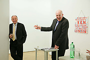 Auctioneer Chris Knapton and Ken Livingstone. Art auction held at Gimpel Fils in support of Ken Livingstone's bid for London Mayor in May 2012.