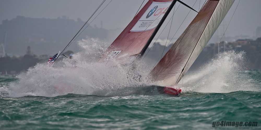 Auckland New Zealand, 05.2.09 Louis Vuitton Pacific Series racing round robin 2, 1st race with shifty wind and the last race of the day with heavy conditions