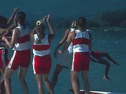 Banyoles, SPAIN, Canadian Women's Eight. Gold Medalist; Cox, being thrown in the water after the medal ceremony Kirsten BARNES , Shannon CRAWFORD , Megan DELEHANTY , Kathleen HEDDLE , Marnie McBEAN , Jessica Jessie MONROE , Brenda TAYLOR , Kay WORTHINGTON , Lesley THOMPSON - WILLIE (c) awards dock and  competing in the 1992 Olympic Regatta, Lake Banyoles, Barcelona, SPAIN.   [Mandatory Credit: Peter Spurrier: Intersport Images]