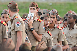November 29, 2016 - Havana, Cuba - Young army cadets from the Interior Ministry proudly wore their uniforms and berets during the evening event where Raul Castro, Cuba's current leader, members of the Cuban Government, many head-of-states and officials from all around the world, and hundreds of thousands Cubans, pay tribute to Fidel Castro, the former Prime Minister and President of Cuba, who die on the late night of November 25, 2016, at age of 90. .On Tuesday, 29 November 2016, in the Revolution Square, Havana, Cuba..Photo by Artur Widak  (Credit Image: © Artur Widak/NurPhoto via ZUMA Press)