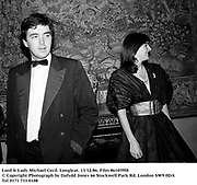 Lord & Lady Michael Cecil. Longleat. 13/12/86. Film 861059f8<br />© Copyright Photograph by Dafydd Jones<br />66 Stockwell Park Rd. London SW9 0DA<br />Tel 0171 733 0108