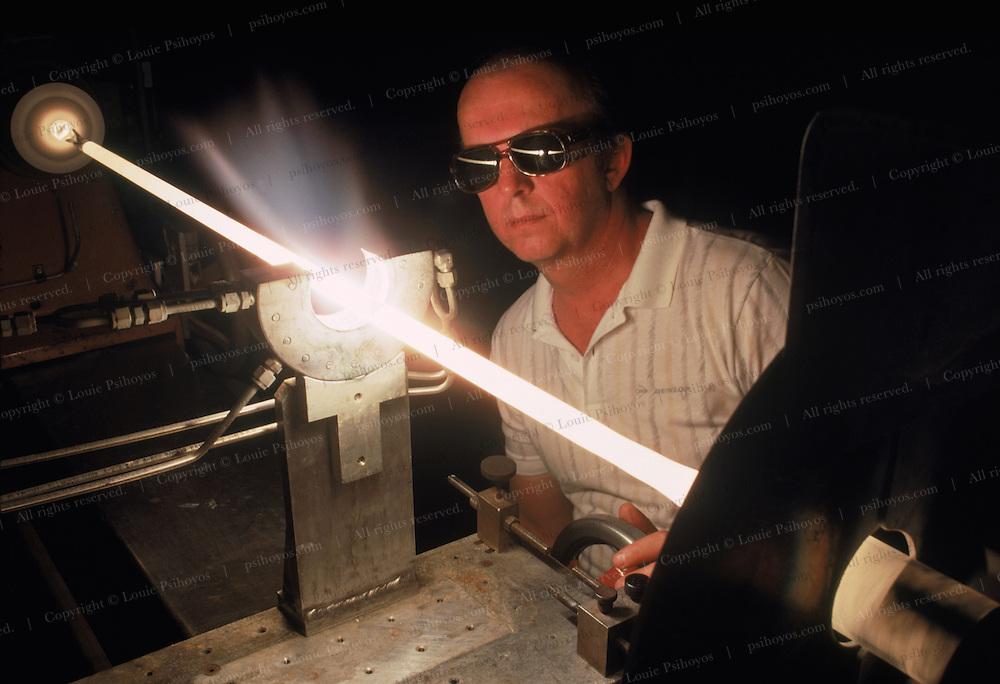 Streching optic fiber at AT&T in Norcross, Georgia. 1989
