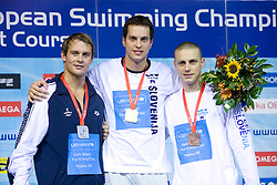 Aleksander Hetland (2nd place) of Norway,  Matjaz Markic (1st place) of Slovenia and Emil Tahirovic  (3rd place) of Slovenia after 50m Men`s Breaststroke final race, during the 3rd day of LEN European Short Course Swimming Championships Rijeka 2008, on December 13, 2008,  in Kantrida pool, Rijeka, Croatia. (Photo by Vid Ponikvar / Sportida)