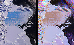 May 2, 2002 - Antarctica - Collapsed of Larsen B. The shape of the world is hanging by a thread or rather, according to experts, by a 110 mile-long (177km) rift. That's the extent of a rapidly expanding crack in an enormous ice shelf in Antarctica. When the Larsen C shelf finally splits, the largest iceberg ever recorded (bigger than the US state of Rhode Island and a third the size of Wales) will snap off into the ocean. Widening each day by 3 ft (1 m), the groaning cleft is on the verge of dramatically redrawing the southern-most cartography of our planet and is likely to lead, climatologists predict, to an acceleration in the rise of sea levels globally. (Credit Image: © NASA via ZUMA Wire/ZUMAPRESS.com)