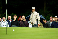 Photograph: Scott Heavey<br />Volvo PGA Championship At Wentworth Club. 23/05/2003.<br />Niclas Fasth talks the ball in on the 17th.