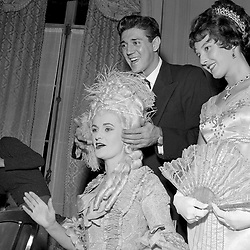 6 November 1957 - The Duchess of Argyll who dressed as Marie Antoinette for a fashion show having her hair finished by M Rene at a party in London.<br /> <br /> Photo by Desmond O'Neill Features Ltd.  +44(0)1306 731608  www.donfeatures.com