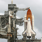 The shuttle Atlantis sits on the pad after the rotating service structure is peeled away at the Kennedy Space Center Thursday, July 7, 2011, in Cape Canaveral, Fla. Shuttle Atlantis is scheduled to launch on Friday, July 8 and is the 135th and final space shuttle launch for NASA..  (AP Photo/Alex Menendez)