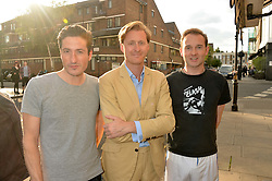 Left to right, BLAISE PATRICK, TOM NAYLOR-LEYLAND and LORD ELCHO at a party to launch Biscuiteers Fashion Biscuit Collection inspired by Alice Naylor-Leyland's wardrobe held at Biscuiteers, 194 Kensington Park Road, London W11 on 23rd June 2015.