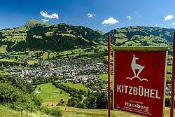 THEMENBILD - Der Blick über die Hausbergkante in die Kompression, der Einfahrt in die Traverse und dem Zielgelände mit dem Kitzbüheler Horn und der Stadt Kitzbühel im Hintergrund, aufgenommen am 26. Juni 2017, Kitzbühel, Österreich // The view over the Hausbergkante into the compression, the entrance into the traverse and the target area with the Kitzbüheler Horn and the town of Kitzbuehel in the background at the Streif, Kitzbühel, Austria on 2017/06/26. EXPA Pictures © 2017, PhotoCredit: EXPA/ Stefan Adelsberger
