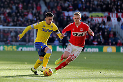 Leeds United's Pablo Hernandez (left) and Middlesbrough's George Saville during the Sky Bet Championship match at The Riverside Stadium, Middlesbrough.
