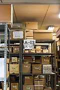 Boxed cloisonne works in storage at Ando Cloisonne, Nagoya, Aichi Prefecture, Japan, February 26, 2018. Family-owned and run Ando Cloisonne was founded in the 1880s and is the only large manufacturer of cloisonne metalware left in Japan. The cloisonne enamelling process is technologically complex and a single work may feature over 50 colours.