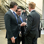 Jay Sekulow, personal lawyer for President Trump, speaks to Sen. James Lankford (R-Okla.) and White House deputy press secretary Hogan Gidley before Sekulow addresses reporters on Friday, January 24, 2020 during a break in the impeachment trial of President Trump.