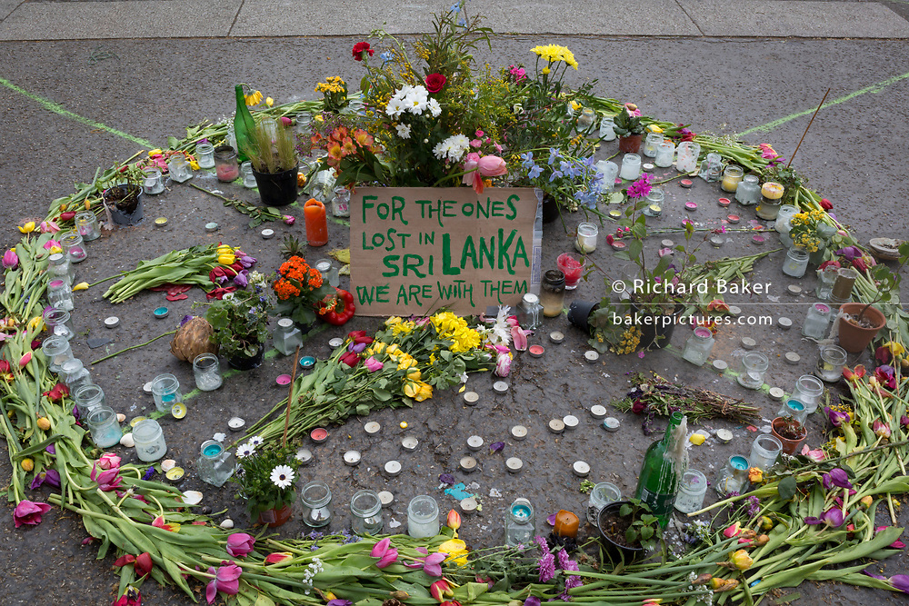 On the 10th consecutive day of protests around London by the climate change campaign Extinction Rebellion, a makeshift memorial to those killed in the terorist attacks in Sri Lanka, on 24th April 2019, at Marble Arch, London England.
