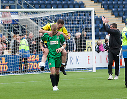 Alloa Athletic's keeper Scott Bain  and Alloa Athletic's Darren Young after they found out their staying up.<br /> Falkirk 3 v 1 Alloa Athletic, Scottish Championship game played today at The Falkirk Stadium.<br /> © Michael Schofield.