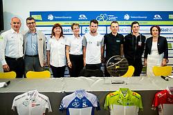 Bogan Fink, Mojca Novak, Sonja Gole, Mark Cavendish (RSA, Team Dimension Data), Rafal Majka (POL, Bora - Hansgrohe team), Jan Polanc (SLO, Team UAE Emirates) and Alenka Pahor Zvanut of STO during press conference of 24th Tour of Slovenia 2017 / Tour de Slovenie cycling race on June 14, 2017 in City museum, Ljubljana, Slovenia. Photo by Vid Ponikvar / Sportida