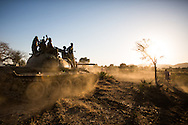SPLA-North Soldiers drive a tank they captured from the SAF army during an ambush. Over a week, they managed to capture 6 other tanks as well.
