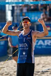 25-08-2019 NED: DELA NK Beach Volleyball, Scheveningen<br /> Last day NK Beachvolleyball / Alexander Brouwer #1, Christiaan Varenhorst #2 Dutch champion Beachvolleyball 2019