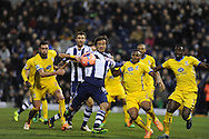 West Brom's Diego Lugano © breaks into penalty area but fails to score.  . FA Cup with Budweiser, 3rd round, West Bromwich Albion v Crystal Palace match at the Hawthorns in Birmingham, England on Saturday 4th Jan 2014.<br /> pic by Andrew Orchard, Andrew Orchard sports photography.