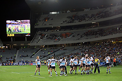 Dejected Waratahs. Investec Super Rugby - Blues v Waratahs, Eden Park, Auckland, New Zealand. Saturday 16 April 2011. Photo: Clay Cross / photosport.co.nz