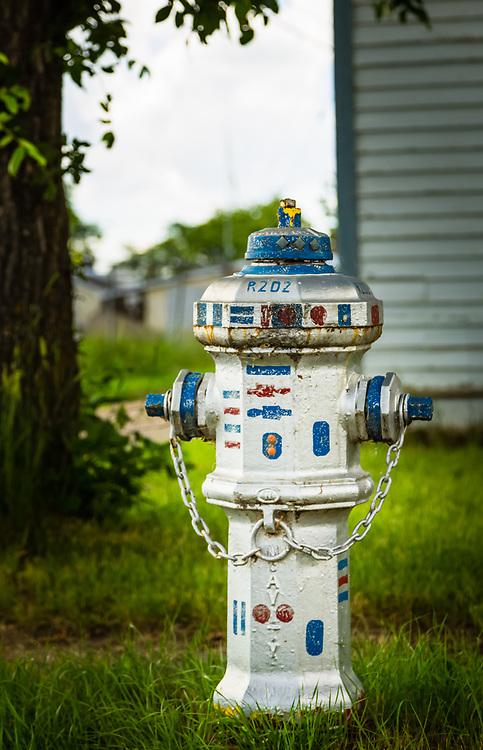 Decorated fire hydrant, Stanley Street, Elbow, Saskatchewan