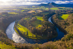 Aerial view of River Tweed and Eldon Hills from Scott's view in the Scottish Borders, Scotland, UK