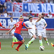 Carli Lloyd, (right), U.S. Women's National Team, dribbles past So-hyun Cho, Korean Republic, during the U.S. Women's National Team Vs Korean Republic, International Soccer Friendly in preparation for the FIFA Women's World Cup Canada 2015. Red Bull Arena, Harrison, New Jersey. USA. 30th May 2015. Photo Tim Clayton