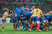 London, Great Britain,  France's forwards drive, collapses during the Pool D game, France vs Romania. 2015 Rugby World Cup. Venue. The Stadium Queen Elizabeth Olympic Park. Stratford. East London. England,, Wednesday  23/09/2015. <br /> [Mandatory Credit; Peter Spurrier/Intersport-images]