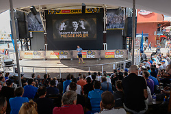 Rider briefing at the V&A Waterfront Amphitheatre during the pre race events held at the V&A Waterfront in Cape Town prior to the start of the 2017 Absa Cape Epic Mountain Bike stage race held in the Western Cape, South Africa between the 19th March and the 26th March 2017<br /> <br /> Photo by Emma Hill/Cape Epic/SPORTZPICS<br /> <br /> PLEASE ENSURE THE APPROPRIATE CREDIT IS GIVEN TO THE PHOTOGRAPHER AND SPORTZPICS ALONG WITH THE ABSA CAPE EPIC<br /> <br /> ace2016