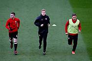 John Fleck of Sheffield Utd  and Billy Sharp of Sheffield Utd warm up with during the English League One match at Bramall Lane Stadium, Sheffield. Picture date: April 5th 2017. Pic credit should read: Simon Bellis/Sportimage