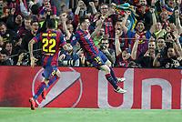 Fotball<br /> Tyskland<br /> 06.05.2015<br /> Foto: imago/Digitalsport<br /> NORWAY ONLY<br /> <br /> l-r: Torjubel von Daniel Alves 22 FC Barcelona Barca und Lionel Messi 10 (FC Barcelona)<br /> <br /> Fussball, Champions League, Halbfinale Hinspiel, FC Barcelona - FC Bayern München