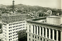 1929 Looking northeast from Hollywood Blvd. and Vine St. The Equitable Building is under construction.