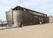 Noah's ark replica floating museum ship  Verhalen Ark, Wet Dock, Ipswich, Suffolk, England, UK