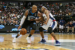 August 17, 2018 - Dallas, TX, U.S. - DALLAS, TX - AUGUST 17: Power Corey Maggette #50 tries to dribble around Tri-State David Hawkins #34 during the Big 3 Basketball playoff game between the Power and the Tri-State on August 17, 2018 at the American Airlines Center in Dallas, Texas. Power defeats Tri-State 51-49. (Photo by Matthew Pearce/Icon Sportswire) (Credit Image: © Matthew Pearce/Icon SMI via ZUMA Press)