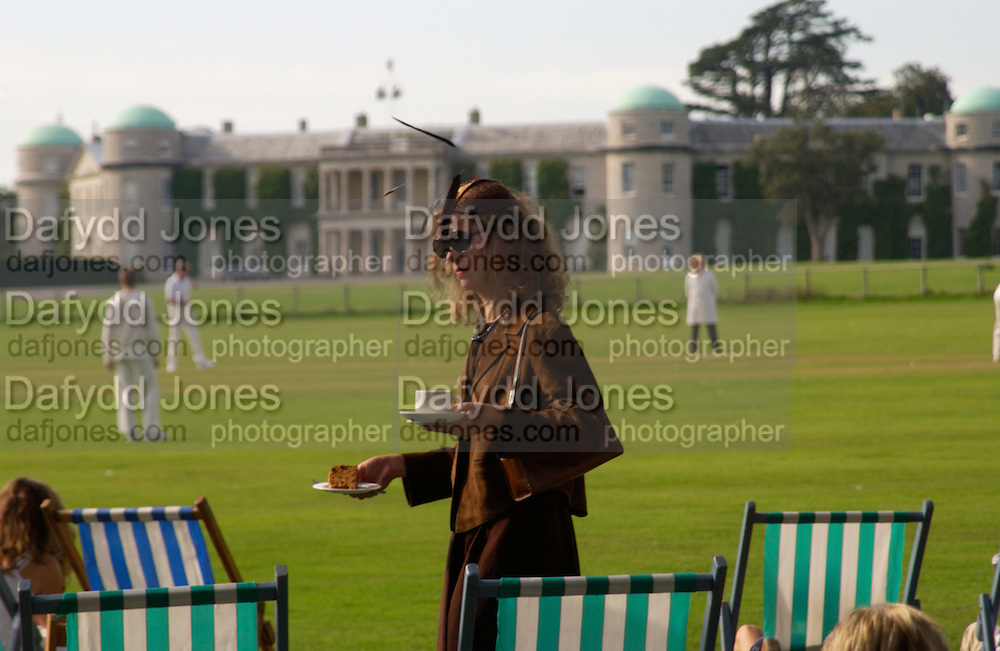 Adriana Monk, The Duke of Richmond and Gordon's X1 V The Earl of March and Kinrara's X1. Cricket match before the Goodwood Revival meeting, 2 September 2004. SUPPLIED FOR ONE-TIME USE ONLY-DO NOT ARCHIVE. © Copyright Photograph by Dafydd Jones 66 Stockwell Park Rd. London SW9 0DA Tel 020 7733 0108 www.dafjones.com