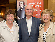 Dympna and John O'Donnell with Deirdre Squire in Hotel Meyrick for the launch of Music for Galway's new International Concert Season 'Aimez-vous Brahms?' opening on September 28th and running until May 18th including main concert series, Lunchtime series and Midwinter Festival.  . Photo: xposure.