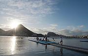 "Rio de Janeiro. BRAZIL.   2016 Olympic Rowing Regatta. Lagoa Stadium,<br /> Copacabana,  ""Olympic Summer Games""<br /> Rodrigo de Freitas Lagoon, Lagoa.   Thursday  11/08/2016 <br /> <br /> [Mandatory Credit; Peter SPURRIER/Intersport Images]"