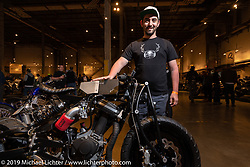 Liviu Alexandru Maslin (Alex) with his Franken Blast 2002 Buell Blast street-fighter custom built entirely in his small Chicago apartment right after moving there from Romania. Handbuilt Show. Austin, Texas USA. Saturday, April 13, 2019. Photography ©2019 Michael Lichter.