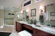 Bathroom Remodel With Cherry Cabinets And Green Granite Countertops