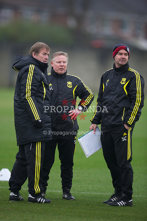 LIVERPOOL, ENGLAND, Wednesday, February 23, 2011: Liverpool's manager Kenny Dalglish, assistant manager Sammy Lee and assistant manager Steve Clarke during training at the club's Melwood Training Ground ahead of the UEFA Europa League Round of 32 2nd leg match against AC Sparta Prague. (Photo by David Rawcliffe/Propaganda)