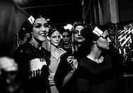 Models wait backstage during a rehearsal of Turkish designer Bora Aksu's fashion show at London Fashion Week Fall/Winter 2013 at Somerset House in London, Britain, 15 February 2013. The fashion week runs from 15 to 19 February.
