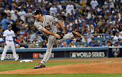 October 31, 2017 - Los Angeles, California, U.S. - Houston's starting pitcher Justin Verlander in the 1st inning of game six of a World Series baseball game at Dodger Stadium on Tuesday, Oct. 31, 2017 in Los Angeles. (Photo by Keith Birmingham, Pasadena Star-News/SCNG. (Credit Image: © San Gabriel Valley Tribune via ZUMA Wire)