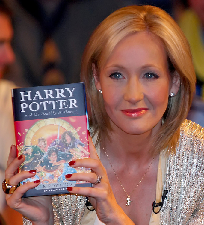 Author JK Rowling presents, to a selected audience of fans waiting to have their book signed, the seventh and final Harry Potter book at the National History Museum in London, England at 00:01 on Saturday 21st Jul 2007.. JK Rowling jumps on the Twitter bandwagon<br /> The Harry Potter author signs up to stop people impersonating her, but will not tweet often as 'pen and paper' is her priority