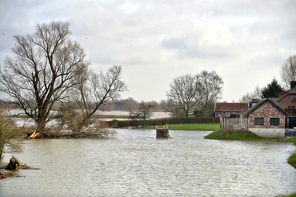Nederland, The Netherlands, Nijmegen, 28-1-2018Opnieuw is er een golf hoogwater die via de Rijn en Waal ons land passeert op weg naar zee. Het water is iets minder hoog als twee weken geleden. Een speeltoestel staat onder water bij een buitendijks dijkhuis. Zicht vanuit de Ooypolder .Foto: Flip Franssen