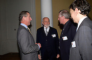 Prince Charles, Sir Peter Moores, Peter Greenaway  Official opening Compton Verney, 23 March 2004. ONE TIME USE ONLY - DO NOT ARCHIVE  © Copyright Photograph by Dafydd Jones 66 Stockwell Park Rd. London SW9 0DA Tel 020 7733 0108 www.dafjones.com