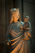 Sculpture of Virgin Mary and child, in Cathedral of Notre-Dame in Reims, France