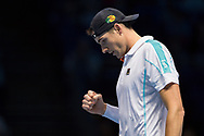 John Isner of the USA celebrates during the Nitto ATP World Tour Finals at the O2 Arena, London, United Kingdom on 16 November 2018. Photo by Martin Cole