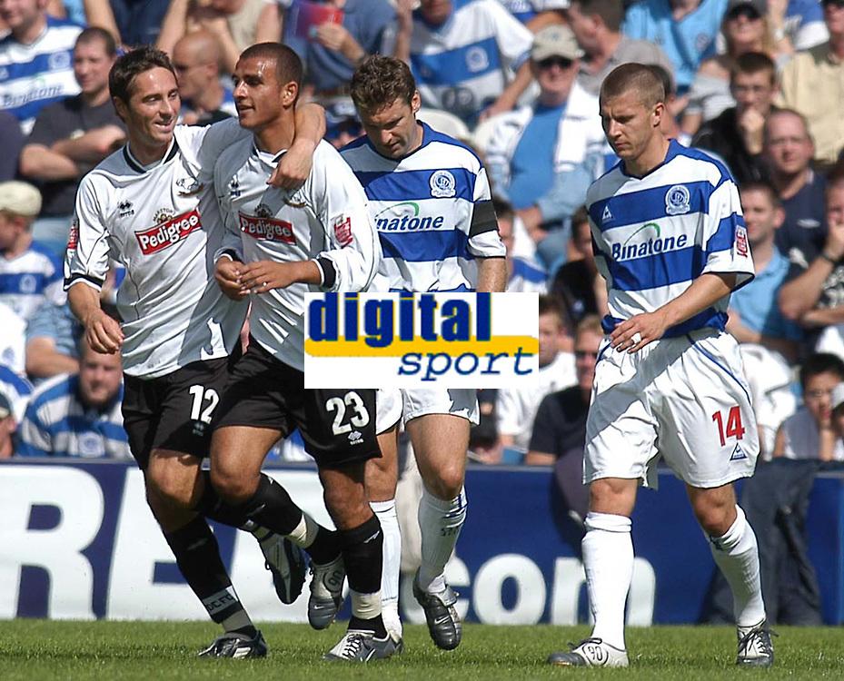 Fotball<br /> Foto: SBI/Digitalsport<br /> NORWAY ONLY<br /> <br /> Coca-Cola Championship<br /> <br /> QPR / Queens Park Rangers v Derby County<br /> <br /> 21/08/2004<br /> <br /> Marcus Tudgay 23 celebrates Derbys second goal.