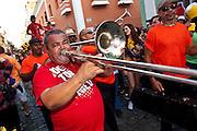 Musicians parade in the Festival of San Sebastian in San Juan, Puerto Rico.