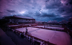 An Infrared image of the outside courts on day seven of the Wimbledon Championships at The All England Lawn Tennis and Croquet Club, Wimbledon.  PRESS ASSOCIATION Photo. Picture date: Monday July 10, 2017. See PA story TENNIS Wimbledon. Photo credit should read: Steven Paston/PA Wire. RESTRICTIONS: Editorial use only. No commercial use without prior written consent of the AELTC. Still image use only - no moving images to emulate broadcast. No superimposing or removal of sponsor/ad logos.